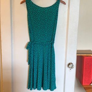 Green with Navy Dot Dress